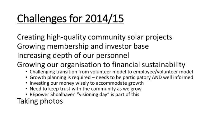 Challenges for 2014/15