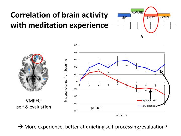 Correlation of brain activity with meditation experience