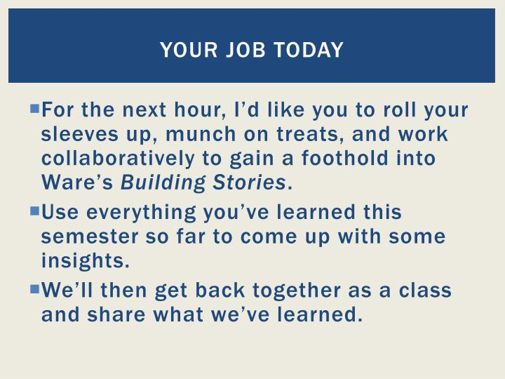 Your job today