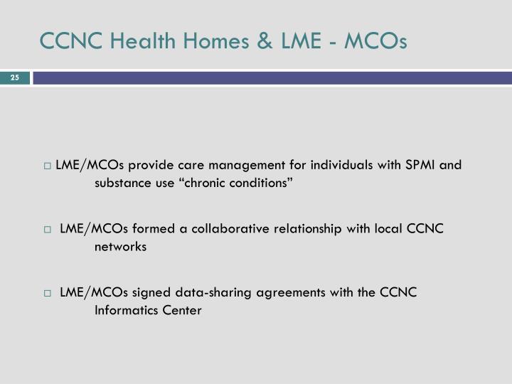 CCNC Health Homes & LME - MCOs