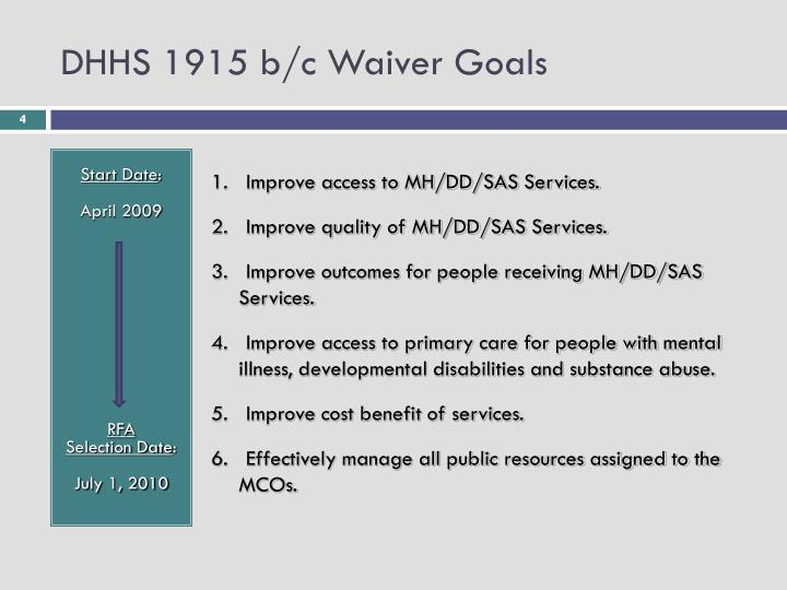 DHHS 1915 b/c Waiver Goals
