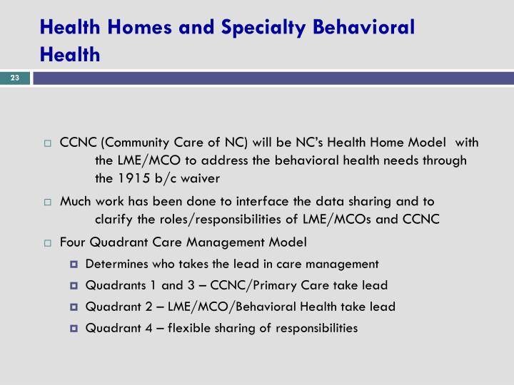 Health Homes and Specialty Behavioral Health