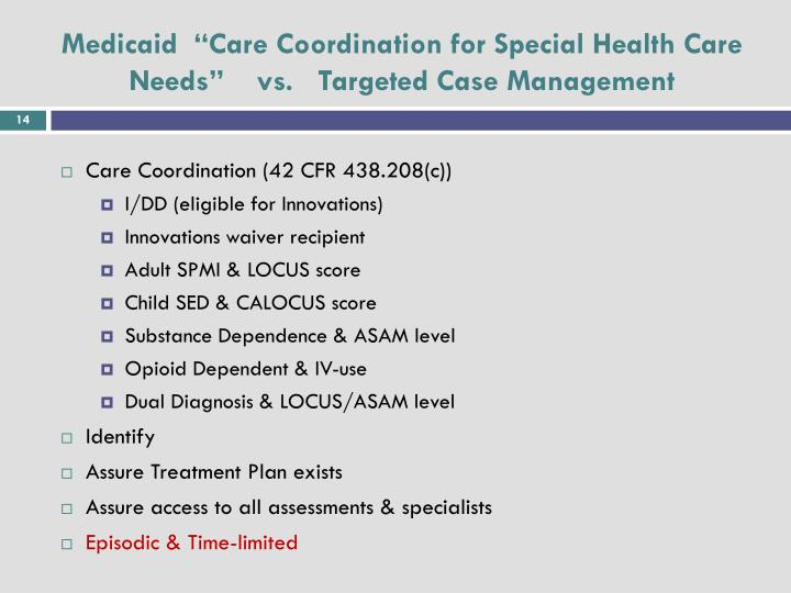 """Medicaid  """"Care Coordination for Special Health Care Needs""""    vs.   Targeted Case Management"""