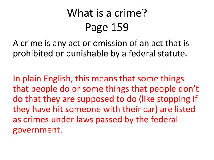 What is a crime page 159