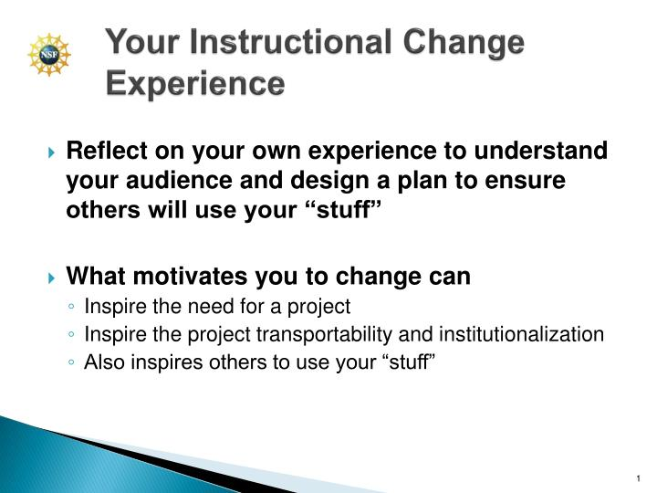 your instructional change experience n.