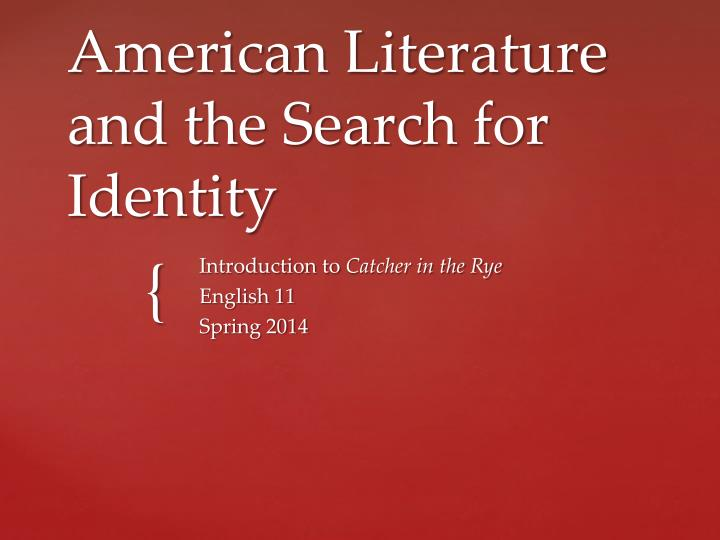 american literature and the search for identity n.
