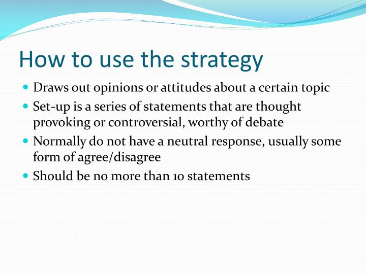 How to use the strategy