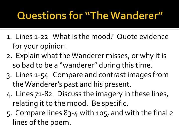 questions for the wanderer n.