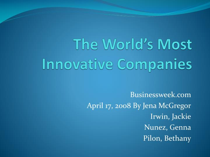 the world s most innovative companies n.