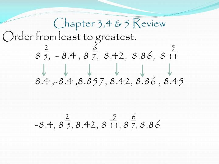 Chapter 3,4 & 5 Review