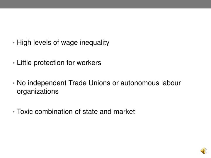 High levels of wage inequality