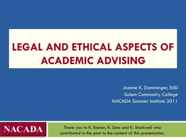 legal and ethical aspects of academic advising n.