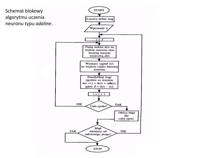 Schemat blokowy algorytmu uczenia neuronu typu