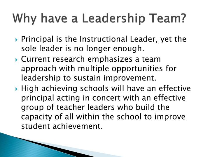 Why have a leadership team