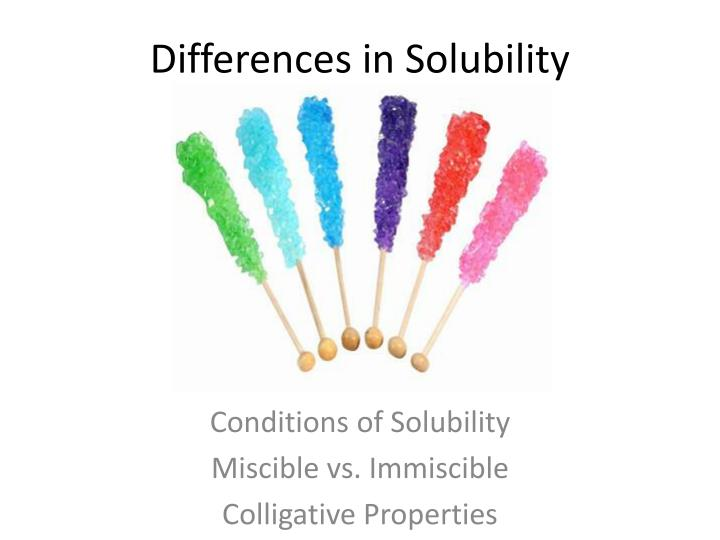differences in solubility n.