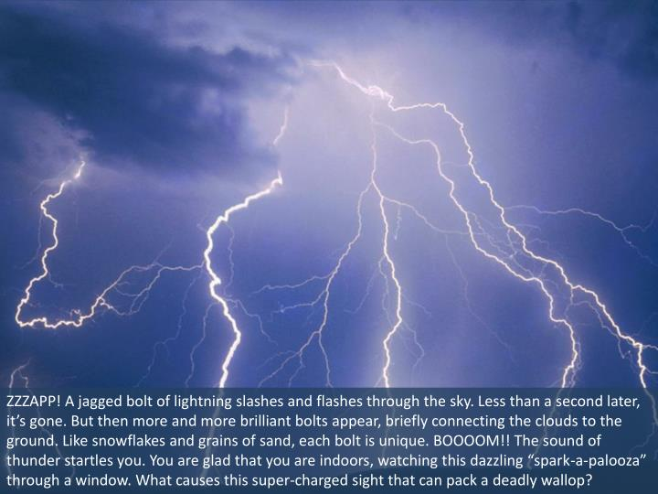 ZZZAPP! A jagged bolt of lightning slashes and flashes through the sky. Less than a second later, it...