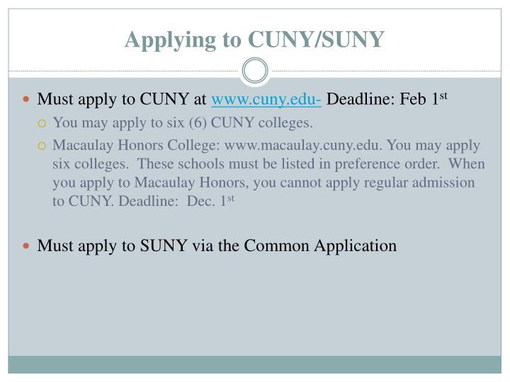 Applying to CUNY/SUNY