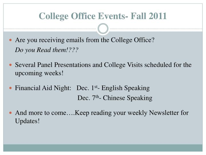College Office Events- Fall 2011