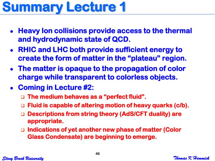 Summary Lecture 1