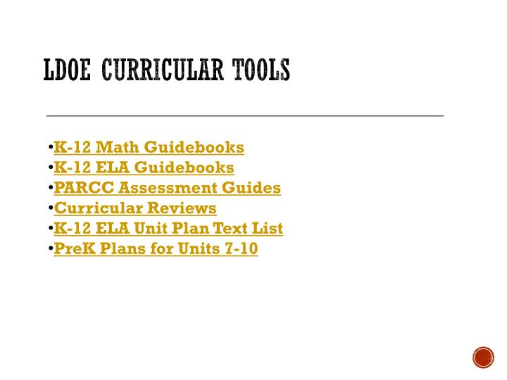 LDOE Curricular Tools