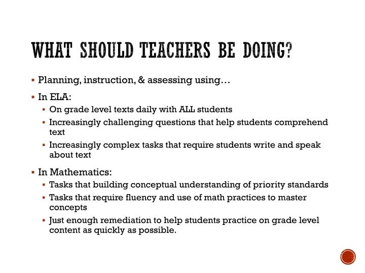 What should Teachers be doing?