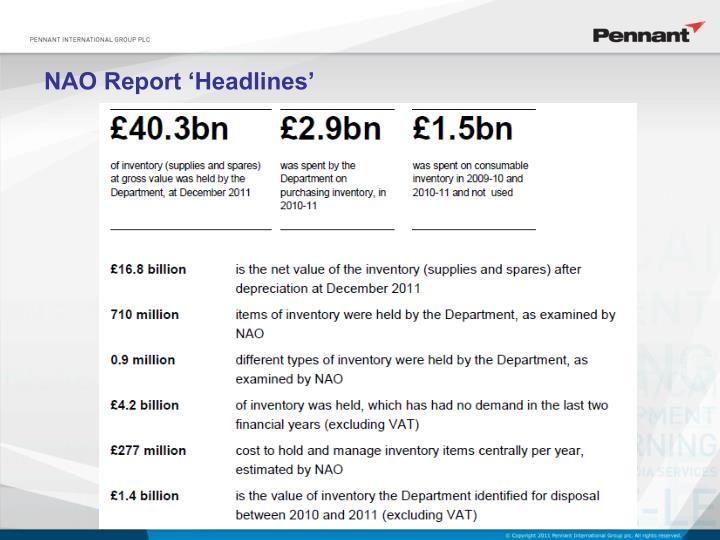NAO Report 'Headlines'