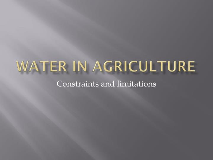 water in agriculture n.