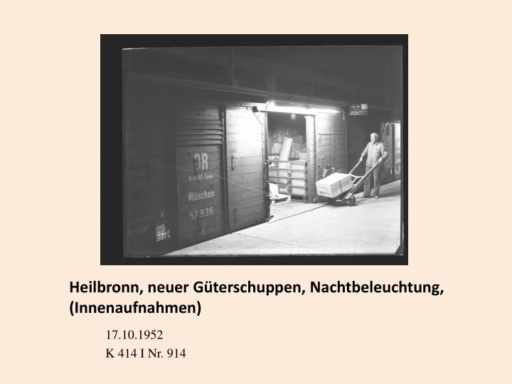 Heilbronn, neuer Güterschuppen, Nachtbeleuchtung,    (Innenaufnahmen)