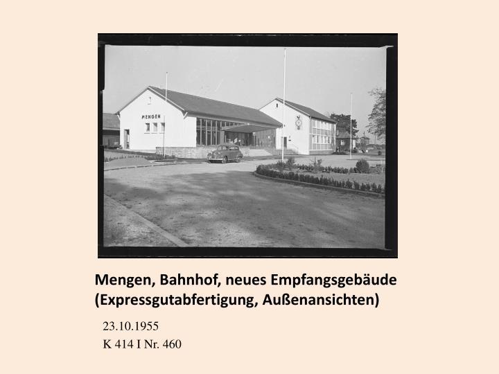 Mengen, Bahnhof, neues Empfangsgebäude (Expressgutabfertigung, Außenansichten)