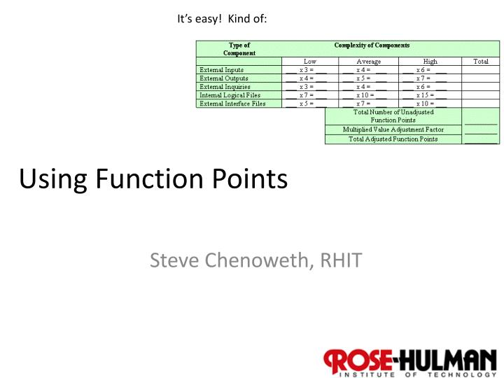 using function points n.