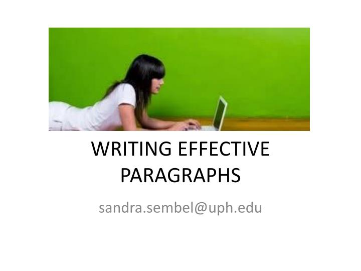 writing effective paragraphs n.