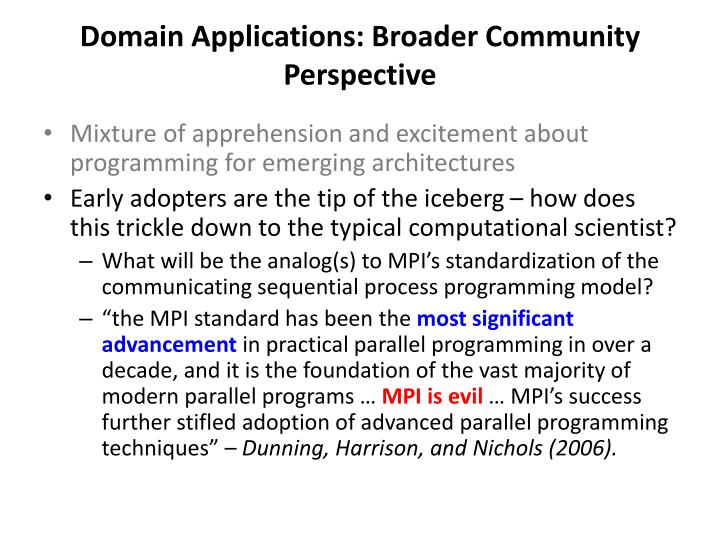 Domain applications broader community perspective1