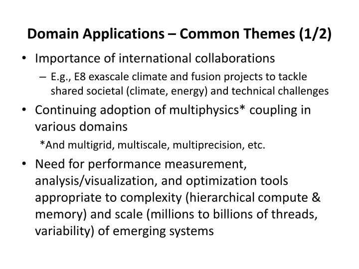 Domain Applications – Common Themes (1/2)