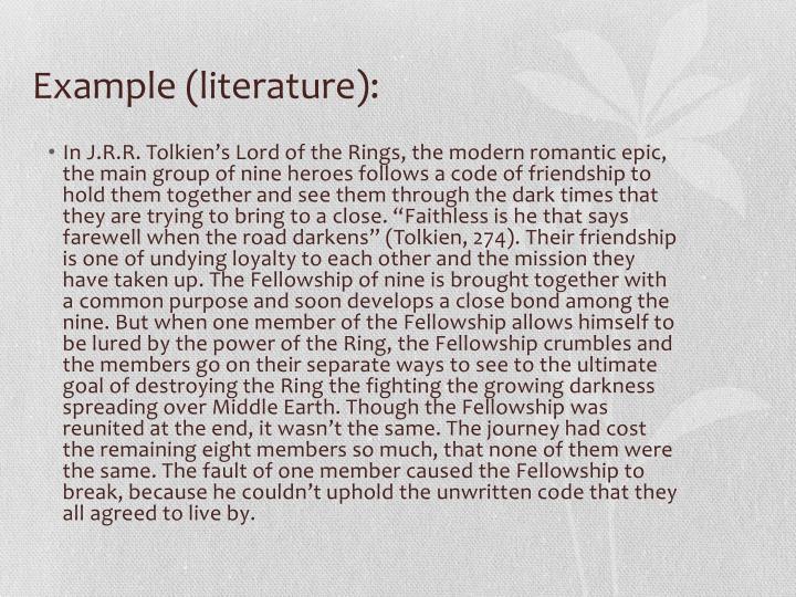 Example (literature):