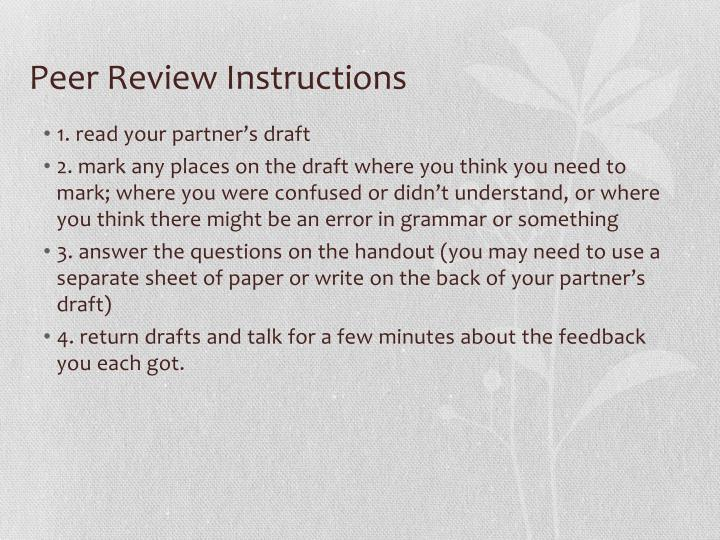 Peer Review Instructions