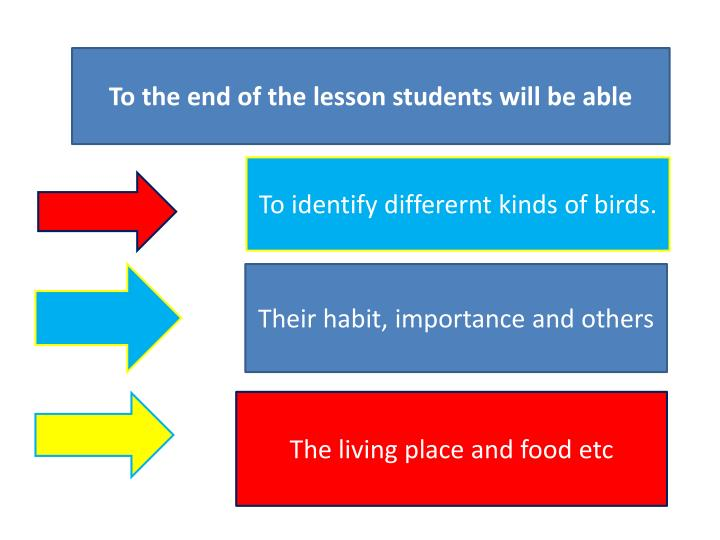 To the end of the lesson students will be able