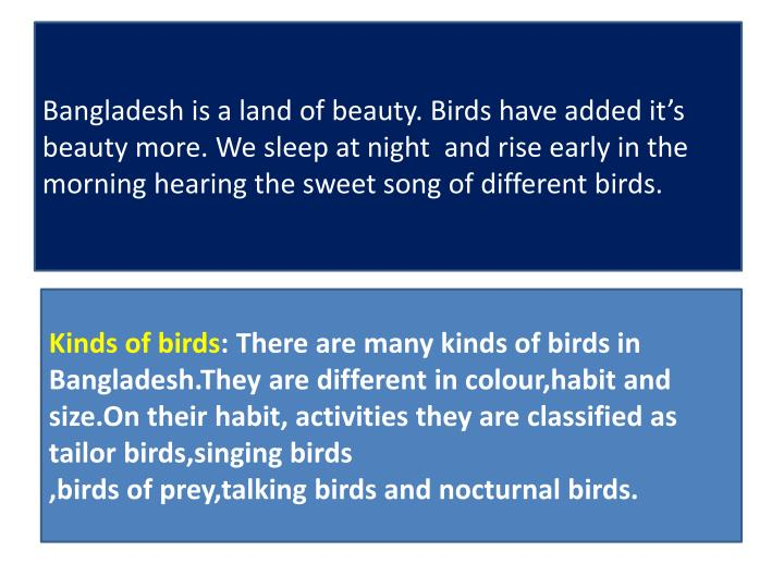 Bangladesh is a land of beauty. Birds have added it's beauty more. We sleep at night  and rise early in the morning hearing the sweet song of different birds.