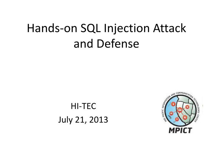 hands on sql injection attack and defense n.