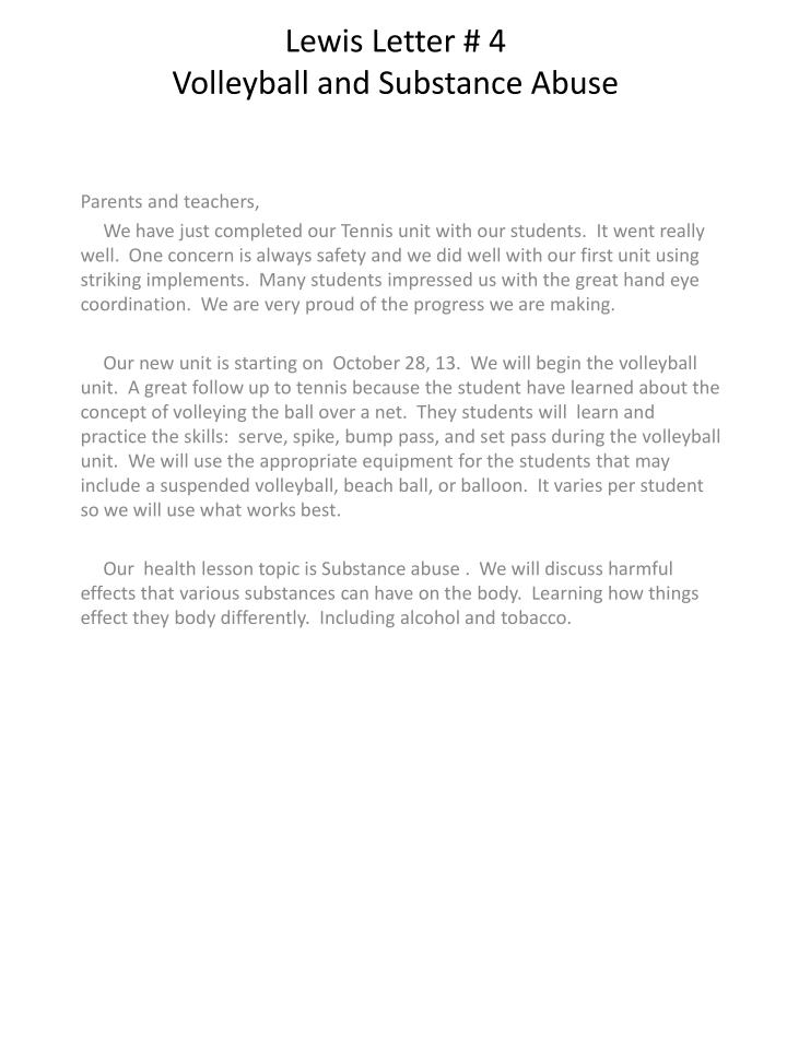 lewis letter 4 volleyball and substance abuse n.
