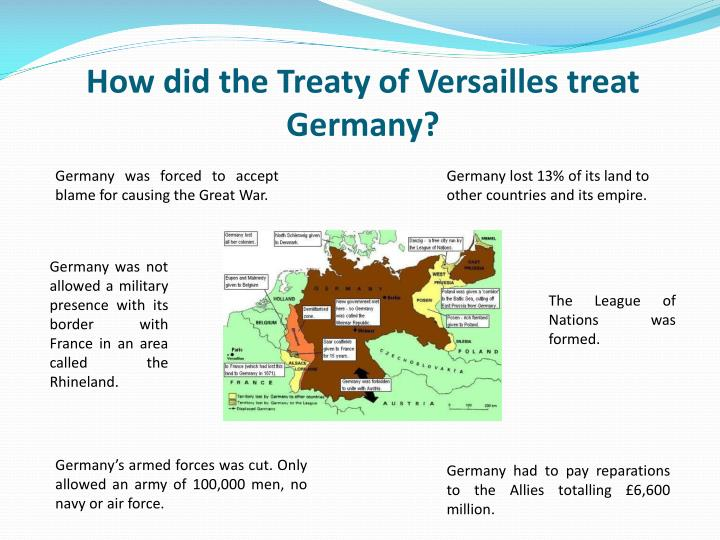 how did the treaty of versailles treat germany