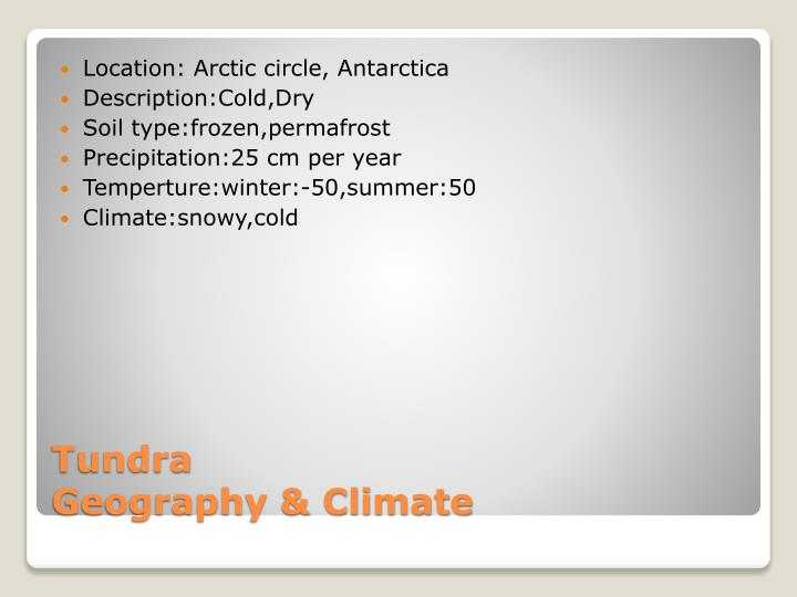 Tundra geography climate
