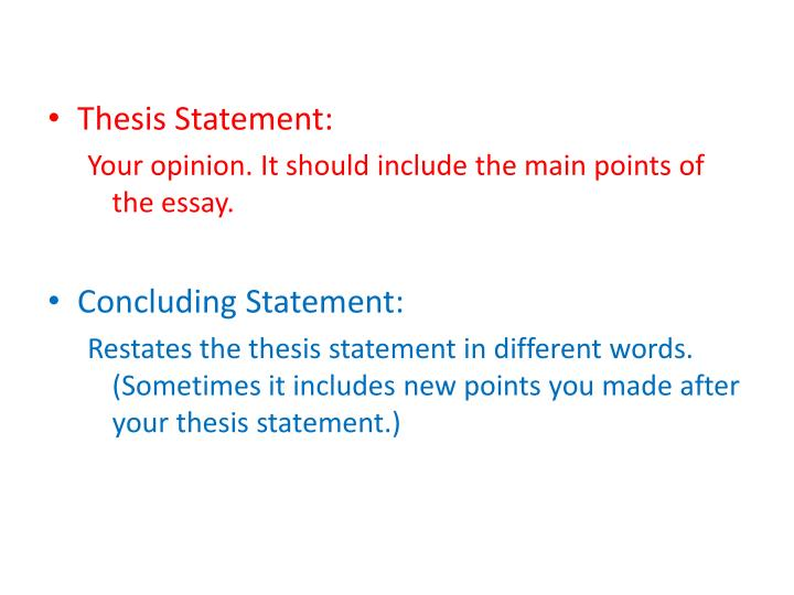 the thesis statement of a process essay should be More examples of thesis statement for argumentative essay: some people feel that the united states should have a national health care plan like canada's however, others feel that government should stay out of the health care business although/even though many think that genetically engineered.
