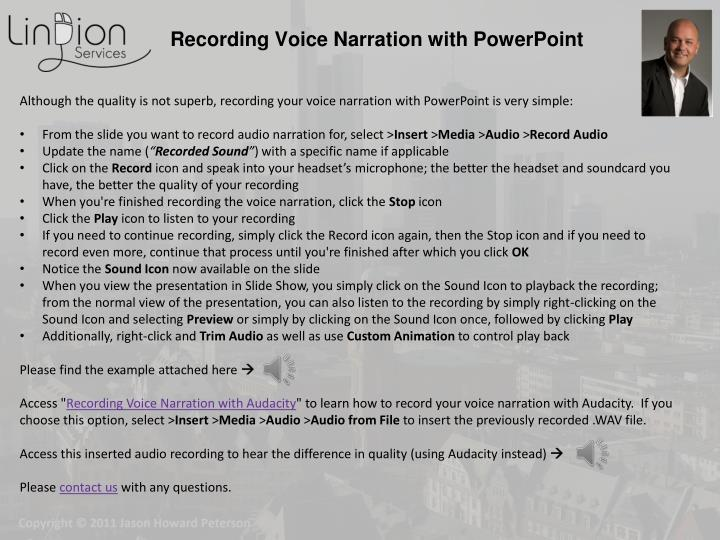 recording voice narration with powerpoint n.