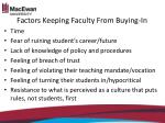 factors keeping faculty from buying in