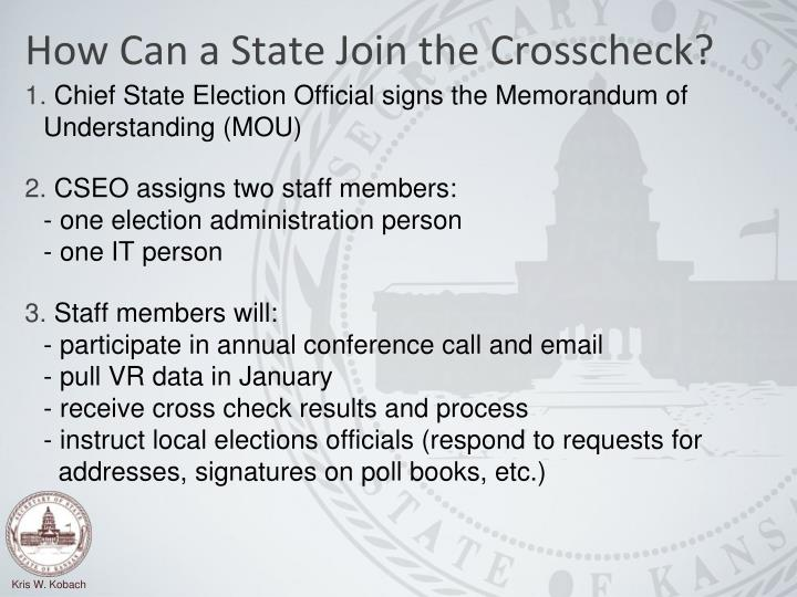 How Can a State Join the Crosscheck?