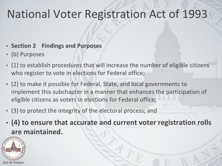 National voter registration act of 1993