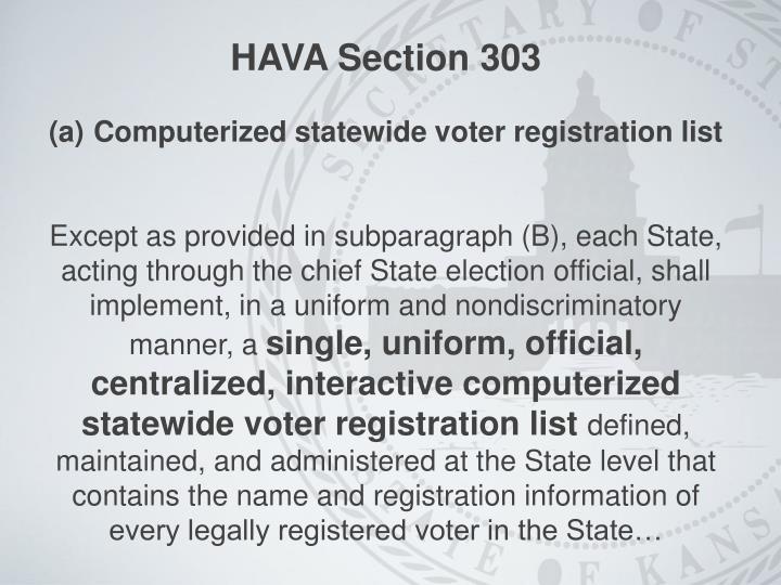 HAVA Section 303