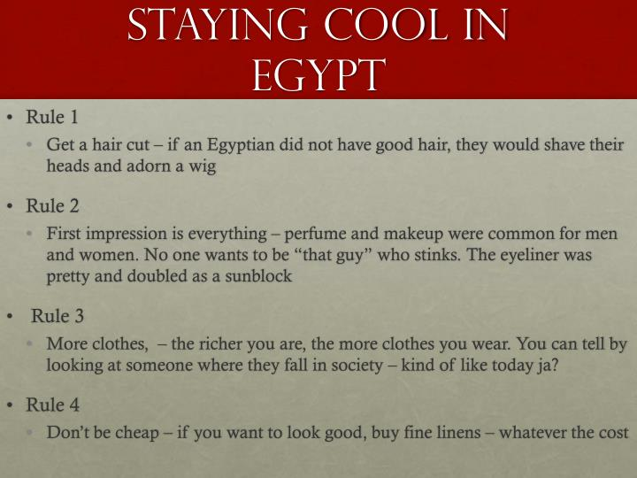 Staying Cool in Egypt