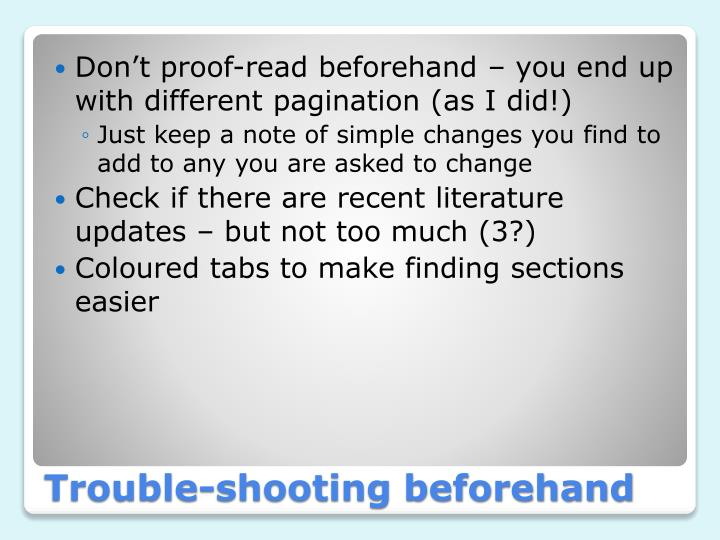 Don't proof-read beforehand – you end up with different pagination (as I did!)