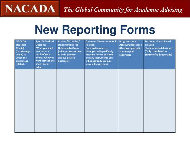 New Reporting Forms